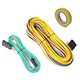 HQAP 14AWG 30ft Upgraded Trailer Wiring Harness Kit 4-Way Flat Wishbone-Style With 4 Flat Connector for Under or Over 80'' Wide Trailers