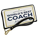 Wallet Clutch Worlds Best Coach Certificate Award with Removable Wristlet Strap Neonblond