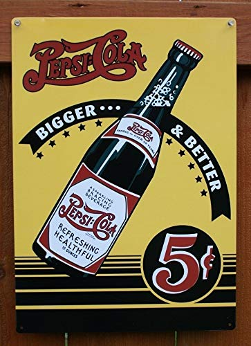 (MMNGT Pepsi Cola Bigger and Better Tin Sign Bottle Soda Pop Bottle TIN Sign 7.8X11.8 INCH)