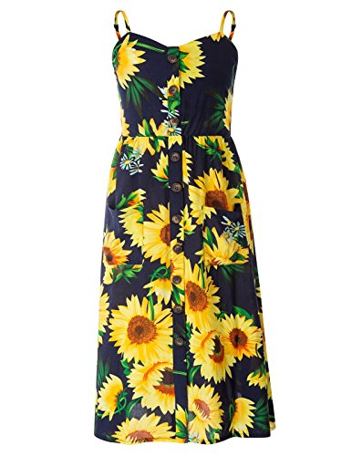 Maacie Girls Sunflower Dress With Pockets Casual/Patry /Beach For Summer 1022, Floral 1, 8Y-FIT HEIGHT- 52.5INCH