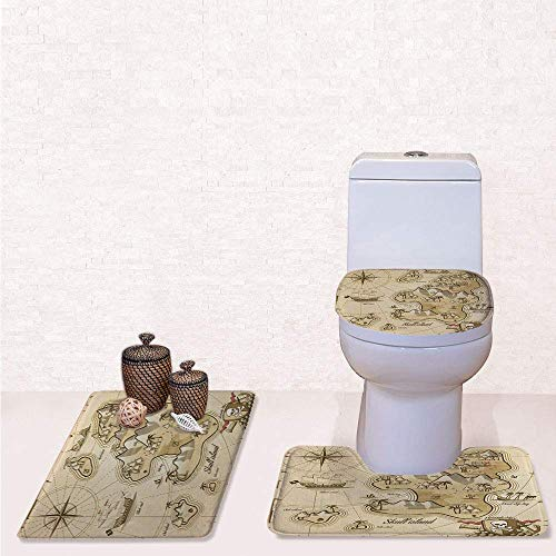 Comfort Flannel 3 Pcs Bath Rug Set,Contour Mat Toilet Seat Cover,Hand Drawn Map of Treasure Island Sea Adventure Ocean Navigation Compass with Light Brown Sand Brown,Decorate Bathroom,Entrance Door,k