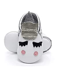 HONGTEYA Leather Baby Moccasins, Baby Girl Shoes, Crib Moccasins, Soft Sole Toddler Shoes, Baby Boy Shoes
