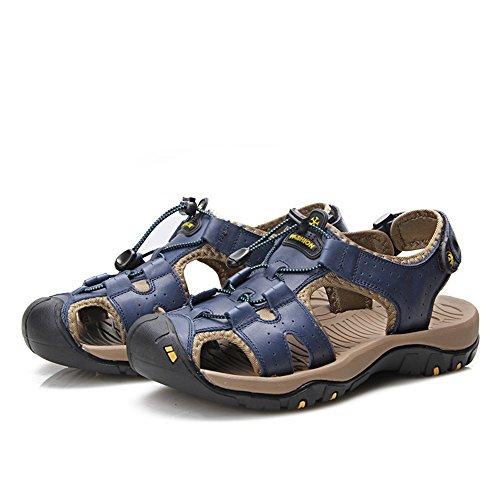 Cuero Zapatillas para de Cerrado Dedo Playa Plana Antideslizante los Suave de Zapatillas Casuales Hombre de de del Genuino Hombres pie Sandalias Blue Encaje SHwEaXxtq