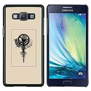 TECHCASE---Cubierta de la caja de protección para la piel dura ** Samsung Galaxy A5 ( A5000 ) 2014 Version ** --cartel amarillento reloj retro arte ingeniero