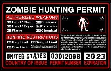 United States US Zombie Hunting License Permit Red - Biohazard Response Team Automotive Car Window Locker Bumper Sticker