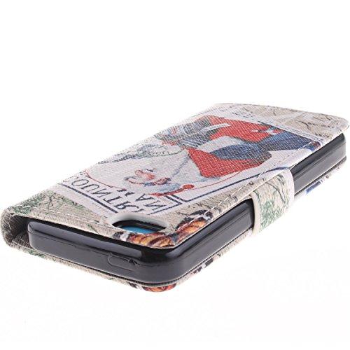 MOONCASE iPhone 5C Case Magnetverschluss [Painted Patterns] Leder Tasche Flip Case Cover Schutzhülle Etui Hülle Schale für iPhone 5C -LK09