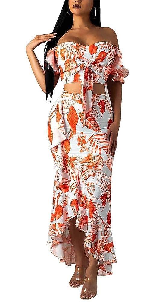 2645fb7b21e6 Women's Floral Off Shoulder Tie Front Crop Top High Waist Ruffle Hem  Bodycon Maxi Skirt 2 Piece Set at Amazon Women's Clothing store: