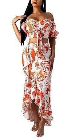 bd4c25924d7b Women's Floral Two Piece Outfit Off Shoulder Crop Top High Waist Ruffle Hem  Bodycon Maxi Skirt