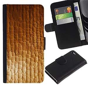 KingStore / Leather Etui en cuir / Apple Iphone 4 / 4S / Textura material textil Modelo del papel pintado
