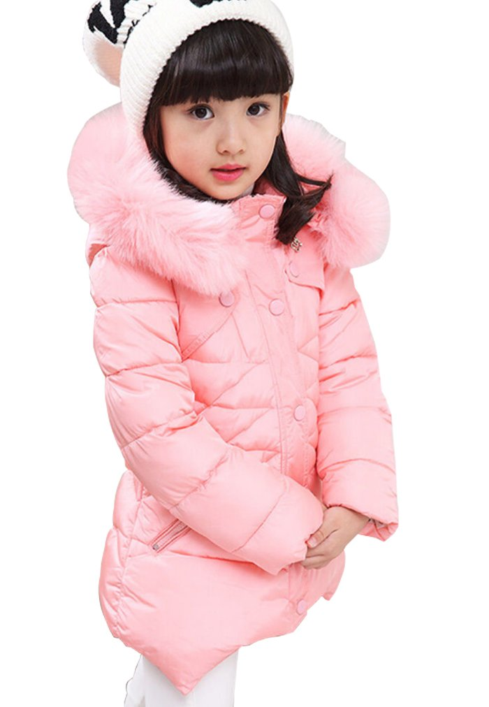 Kids Girls Warm Snowsuit Hooded Winter Outwear With Soft Fur Hoodies,Pink,3T/4T