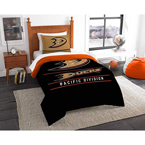 (MI Hockey League Ducks Bedding 2 Piece Comforter Twin Set, Sports Patterned Team Logo Fan Merchandise Athletic Team Spirit, Black Metallic Gold Orange Silver, Polyester Unisex)