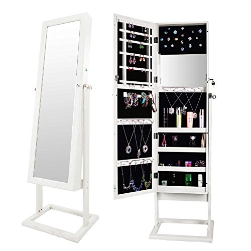 Bonnlo Jewelry Armoire Cabinet Square Stand,Full Length Mirrored & Inside Mirror,Lockable 4 Angle Adjustable Steady Closet