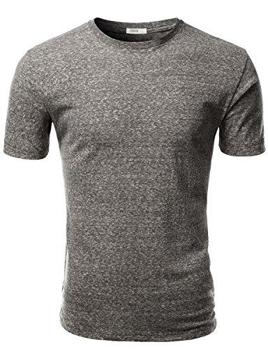 J.TOMSON Men's Poly Cotton Basic Snow Yarn Heathered Crew Neck Short Sleeve T-Shirt