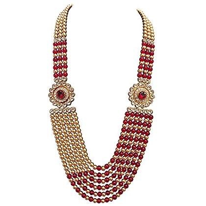 Raadhe creation Pearl Necklace Jewellery for Groom. Six Line Dulha Moti Mala Haar for Men.