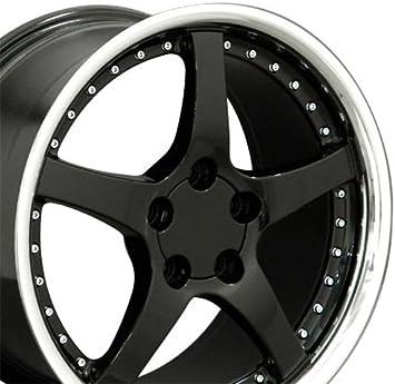 OE Wheels 18 Inch Fits Chevy Camaro Corvette Pontiac Firebird C5 Z06 Style CV04 Black with Machined Lip 18x10.5 Rim Hollander 5146