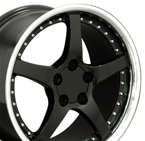 18x9.5 Wheel Fits Corvette, Camaro - C5 Style Black Rim w/Stainless Lip (Corvette Wheel Style C5)