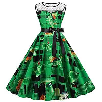 Muranba St Patricks Day Dress Shamrock Sleeveless Printed Christmas Costume Cocktail Dresses Print Party Mesh