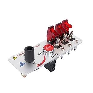 Yosoo Q2YY Boitier de démarrage de compétition pour voiture à LED 12 V Interrupteur principal Boutons poussoirs