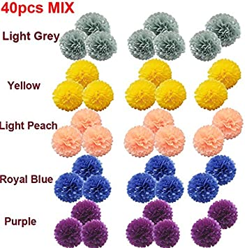 Time to Sparkle 40 Pack Mixed Tissue Paper Pompoms Pom Poms Flower Wedding Party Decoration 40X Autumn Theme