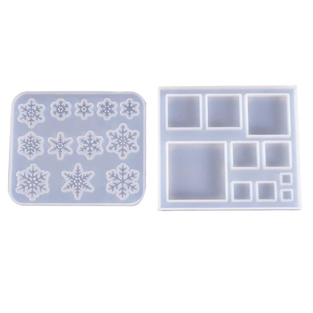 resina UV 1 para hacer joyas accesorios para la fabricaci/ón de joyas Moldes de silicona con forma de copo de nieve Eliky cuadrados