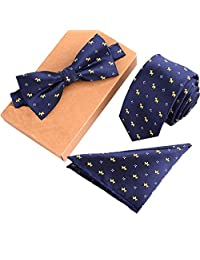 Mens Fashion Polyster Skinny Neck ties and Bowtie Pocket Square 3pcs Set for Gifts 11