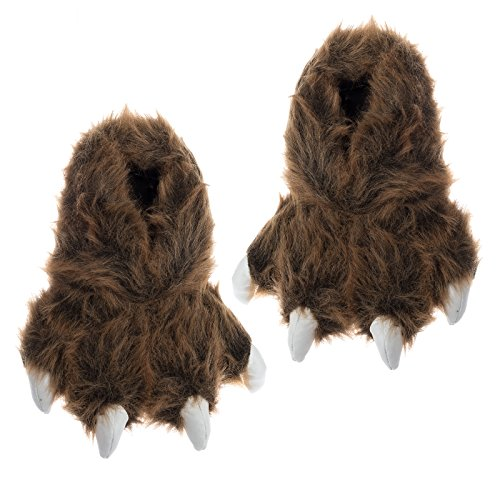 Wishpets Grizzly Bear Paw Slippers w/ White Claws (Brown, Large)