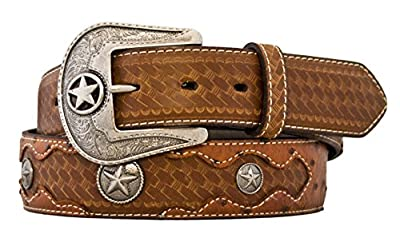 Silver Canyon Men's Leather Embossed Ostrich Print with Conchos Peanut Brittle Belt