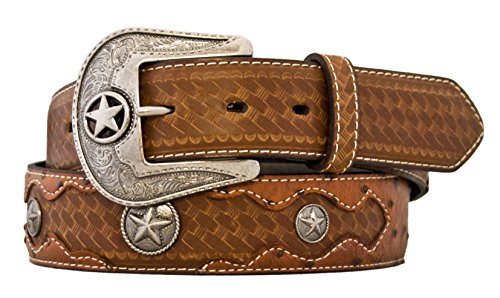 Silver Canyon Men's Leather Embossed Ostrich Print with Conchos Peanut Brittle (Western Leather Clothing)