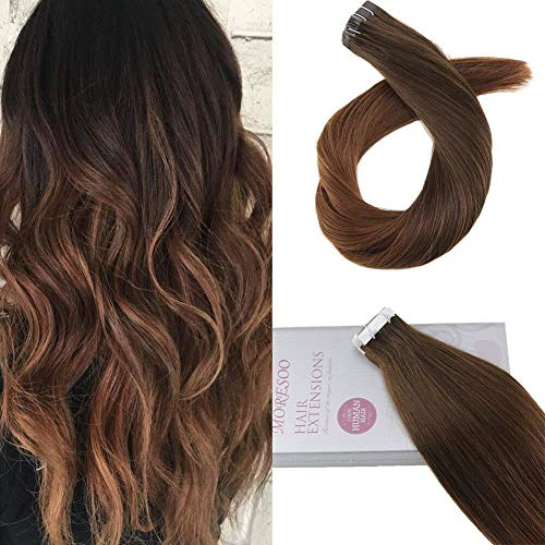 Moresoo 22pulgada Tape in Extensions Cinta en Extensiones de Cabello Ombre Color #4 to #30 Marrón Extensiones de Cinta 20PC...
