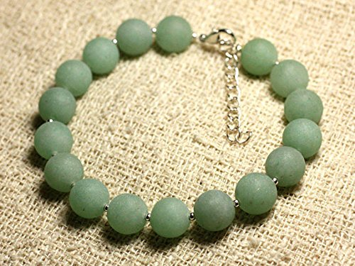 (JP_Beads Bracelet Sterling Silver and Gemstone - Aventurine Green Matte 10 mm)