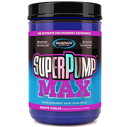 Gaspari Nutrition Super Pump Max, Pre Workout Supplement 40 Servings, Non-Habit-Forming, Sustained Energy & Nitric Oxide Booster Supports Muscle Growth, Recovery & Replenishes Electrolytes, Grape - Gaspari Nutrition Vitamins Supplements