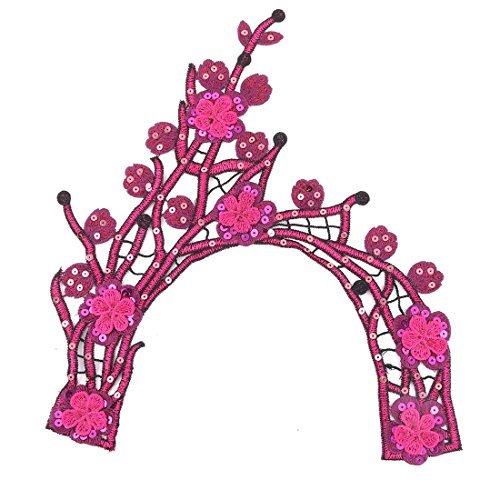eDealMax Inicio de las lentejuelas de la decoracin Floral del Bordado de bricolaje ropa escote Adorno de Encaje apliques Fucsia