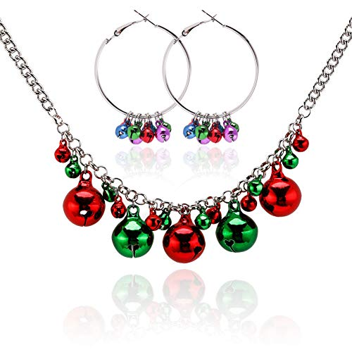 Christmas Jewelry Set for Girls X-Mas Collar Bell Necklace Bell Hoop Earrings Including Red Green White Yellow Jingle Bell Dangle Great Gift Idea