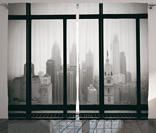 House Decor Curtains By Ambesonne, Philadelphia City Rooftop View Through Window Skyline Landmark Rooftop Travel, Living Room Bedroom Decor, 2 Panel Set, 108 W X 84 L Inches (Philadelphia Party City)