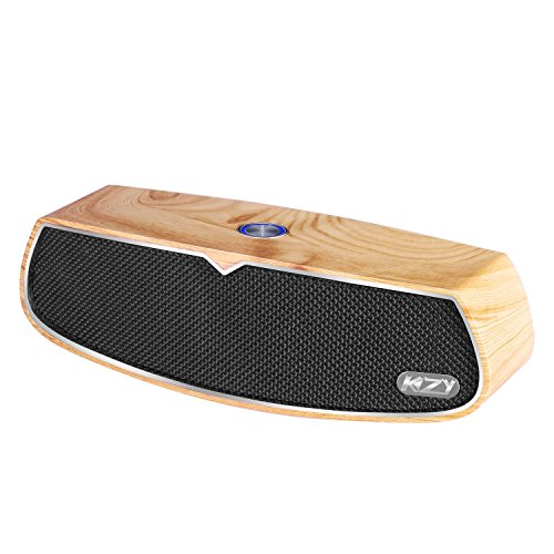 KZY Bluetooth Speaker with Home Wood Retro Super Bass Stereo Sound and 20W Dual Drivers Portable Wireless Subwoofer Speaker for iPhone 7 6s Plus iPad Samsung Phones Tablets (Yellow)