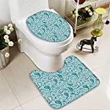 SOCOMIMI Bathroom Non-Slip Rug Set Islamic Arabian Inspired Pattern Rounded Modern Ornaments Design White Blue in Bath Mat Bathroom Rugs
