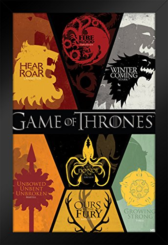 Pyramid America Game of Thrones House Sigils TV Show Black Wood Framed Poster 14x20 inch