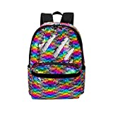 HeySun Reversible Sequins School Backpack for Girl Womens Lightweight Travel Backpack Daypack (Rainbow/Silver)