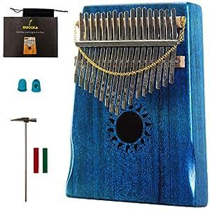 Mahogany Tone Wood Kalimba Professional 17 Keys Acoustic Finger Thumb Piano Music Gift(Ocean Blue)