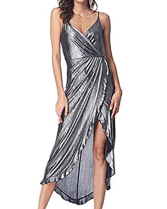 GAMISS Women's Sexy V-Neck Glitter Sequin Dress Sleeveless