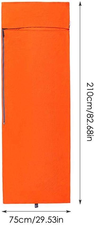 High Elasticity Ultralight Anti-Dirty Dust-Proof Travel Sleep Bag Train Orange Hotel Office Ruire-hui Portable Sleeping Bag Liner Outdoor Single Sleeping Bag Liner for Camping