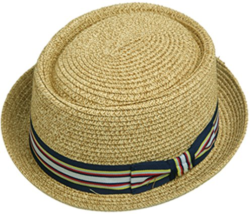 Men's Fancy Summer Straw Pork Pie Derby Fedora Upturn Brim Hat (Small-Medium, Natural)