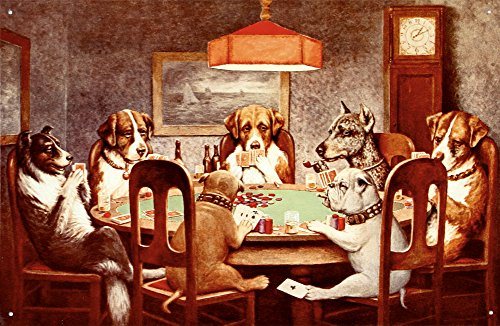 Seven Dogs Playing Poker Tin Sign 16 x 11in