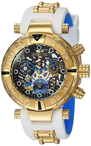 Invicta Women's 'Disney Limited Edition' Quartz Stainless Steel and Silicone Casual Watch, Color:White (Model: 24512)