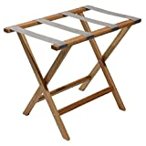 Wooden Mallet Deluxe Straight Leg Luggage Rack, Grey Straps, Light Oak