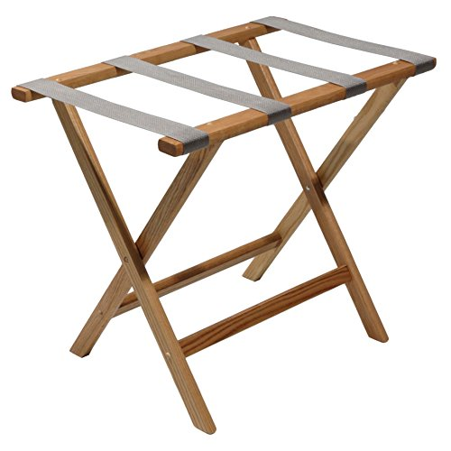 - Wooden Mallet Grey Straps, Light Oak Deluxe Straight Leg Luggage Rack,