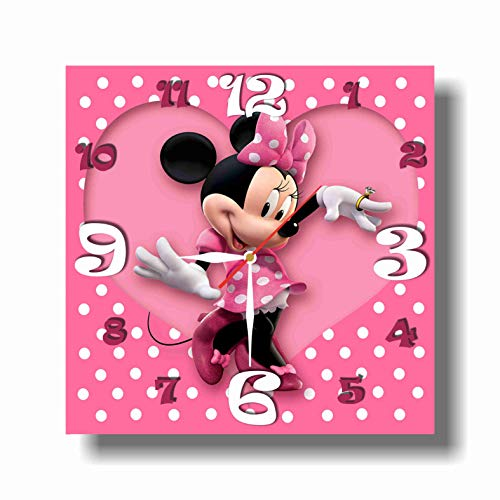 MAGIC WALL CLOCK FOR DISNEY FANS Mickey Mouse Clubhouse - Minnie 11.8'' Handmade Made of Acrylic Glass - Get Unique décor for Home or Office – Best Gift Ideas for Kids, Friends, Parents ()