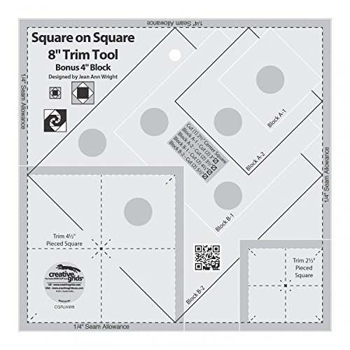 Creative Grids Square on Square 8'' Trim Tool Quilting Ruler Template cgrJAW8 by Creative Grids