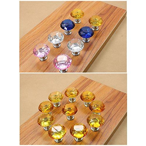 Zhi Jin 6Pcs Cabinet Knobs Handle Diamond Glass Wardrobe Drawer Knob Pulls Set Crystal Office Home Cupboard Yellow by Zhi Jin (Image #4)