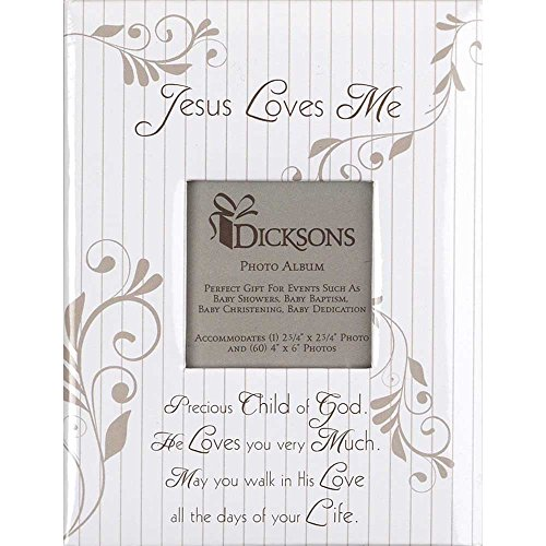 Dicksons Jesus Loves Me Filigree White 6.5 x 5 Hardboard Photo Album